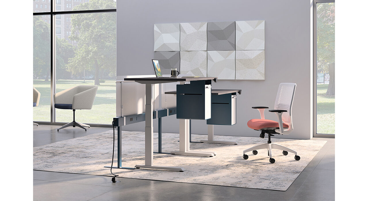 white grey and cream colored acoustic tiles on office wall