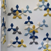 acoustic Ecoustic Foliar Sky Cream Yellow Cobalt wall tile felt textile