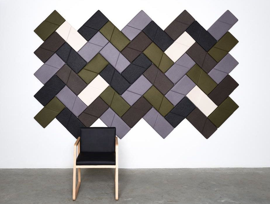 Installation featuring acoustic tile Ecoustic Domino sound absorbing felt textile chair white wall