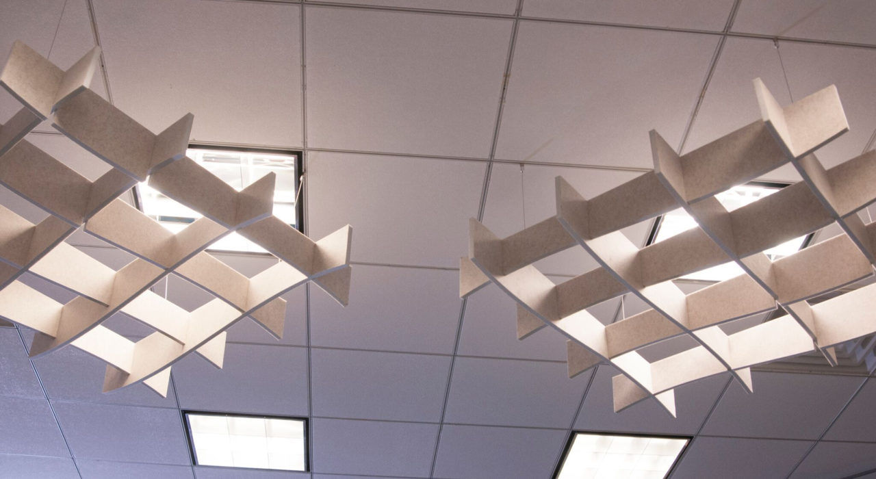 Installation of acoustic baffle Ecoustic Arbor natural felt office sound absorbing ceiling tiles lights