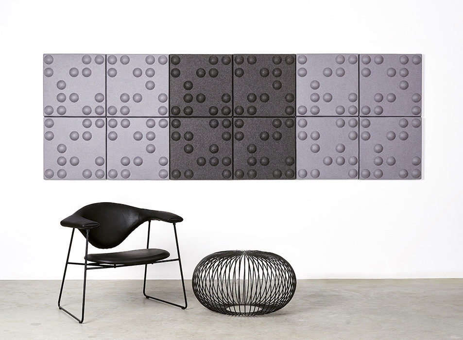installation featuring acoustic tile Ecoustic Bond Pewter Charcoal tiles panels sound absorbing felt textile wall display stool chair