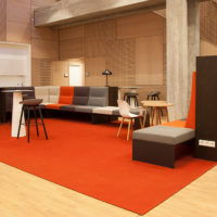 orange sound-absorbing felt rug in open area