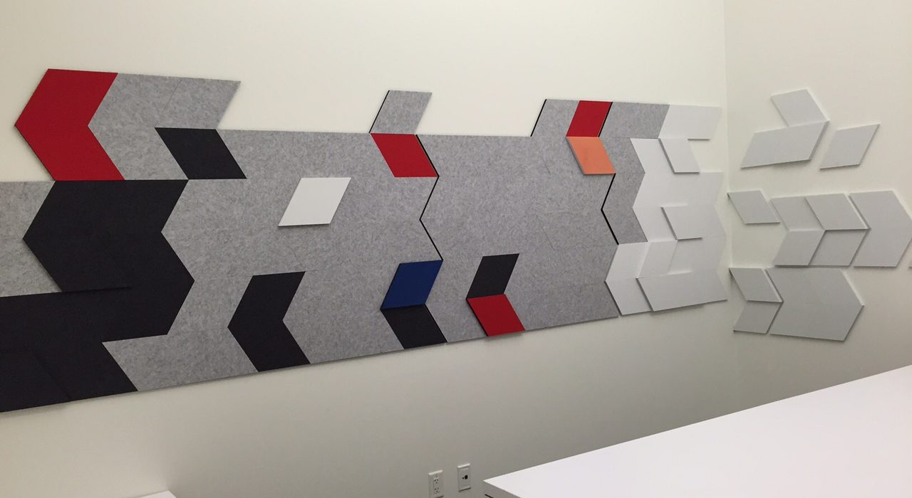 acoustic tile ecoustic e3 wall installation arrow design red light grey charcoal cobalt white sound absorbing