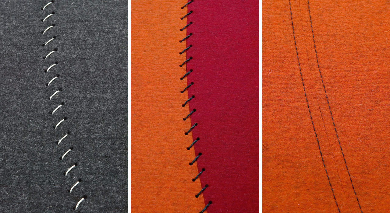 three types of stitching options for felt rugs