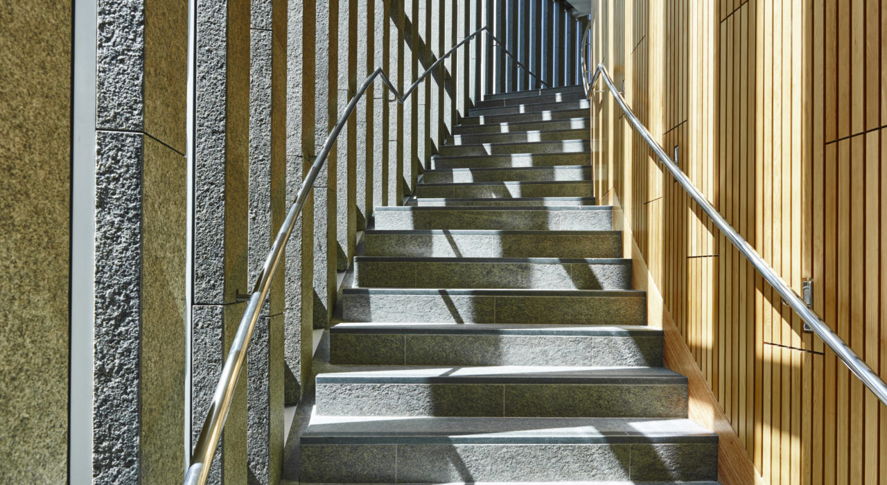 acoustic modular panel sound absorption ecoustic timber blade panel wood staircase perth library