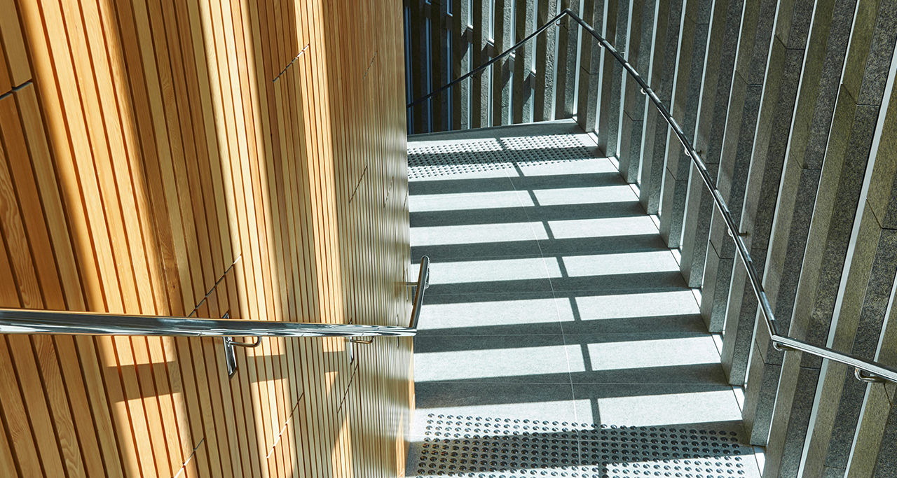 acoustic modular panel wood sound absorption ecoustic timber blade panels perth library down staircase