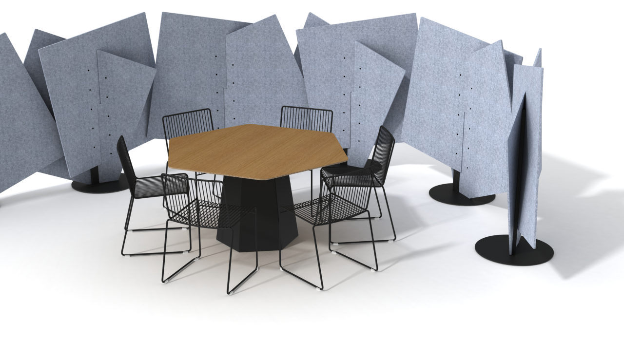 acoustic partition ecoustic intersect configured around table and chairs in grey sound absorption