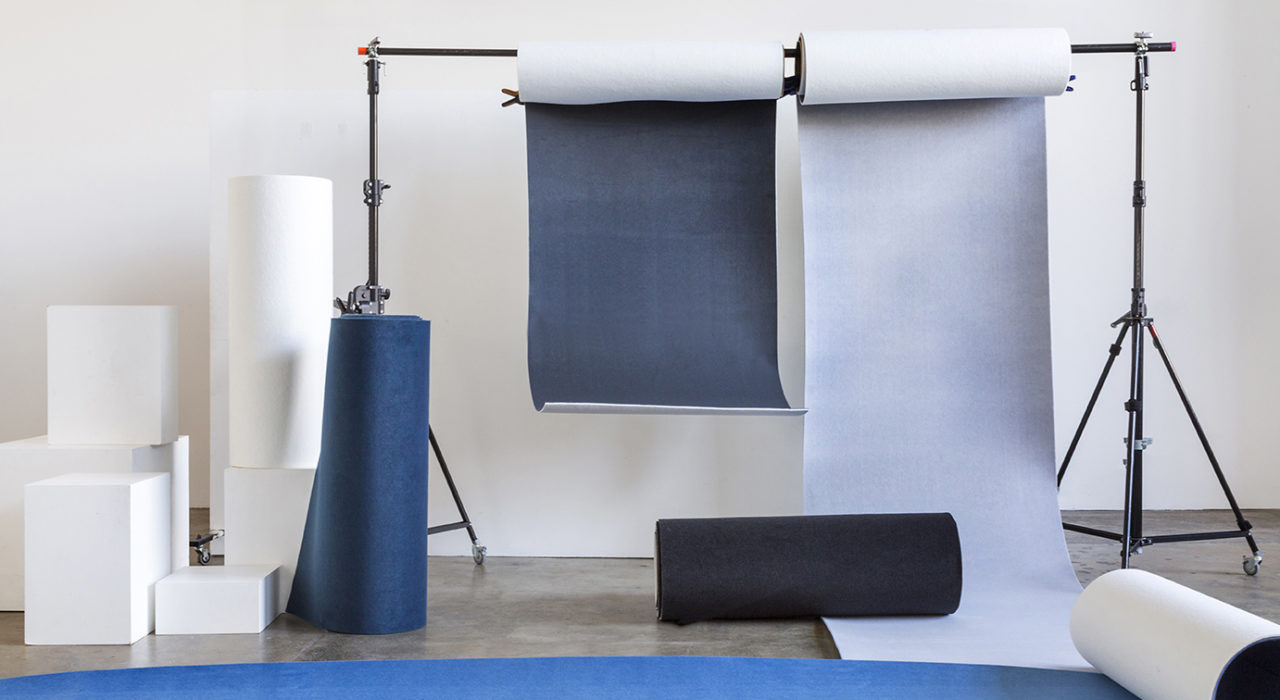 acoustic flexible panel Ecoustic Curve Deep Harbour Flint Chrome Onyx sound absorbing textile rolled hanging from beam