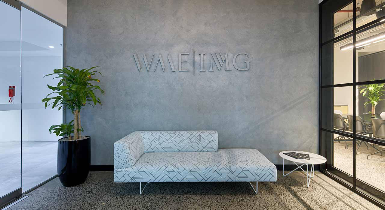 upholstered sofa in office lobby
