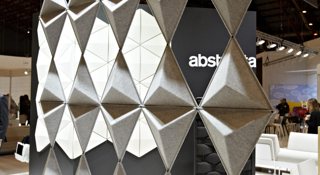 Installation featuring acoustic tile Aircone black white hanging sound absorbing