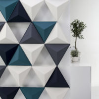 acoustic tile Aircone hanging white black blue plant sound absorbing