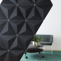 acoustic tile Aircone black hanging carpet table lounge sofa couch sound absorbing