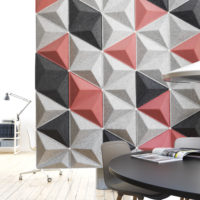 Installation featuring acoustic sound absorbing tile Aircone pink grey black hanging desk chair light