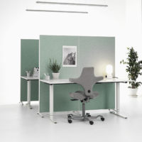 Installation featuring acoustic Alumi Screen dividing wall blue white plant office chair desk sound absorbing