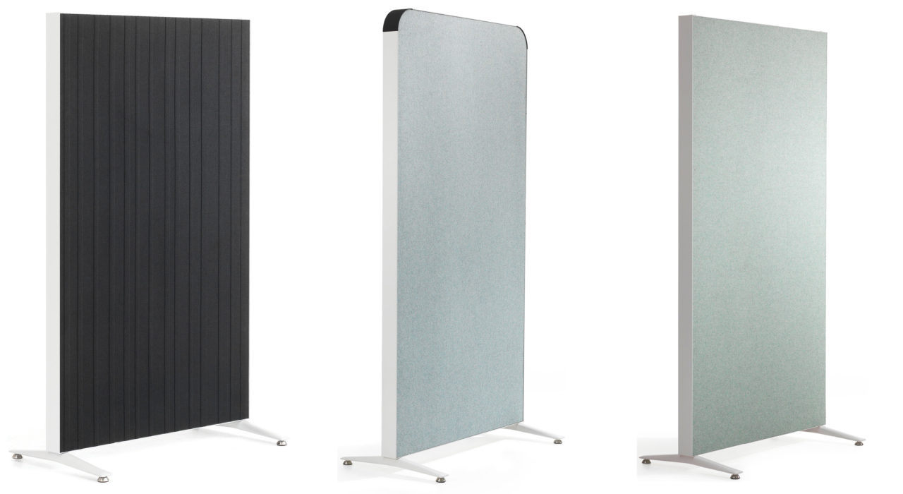 acoustic Alumi Screen black grey standing sound absorbing three models displayed white background