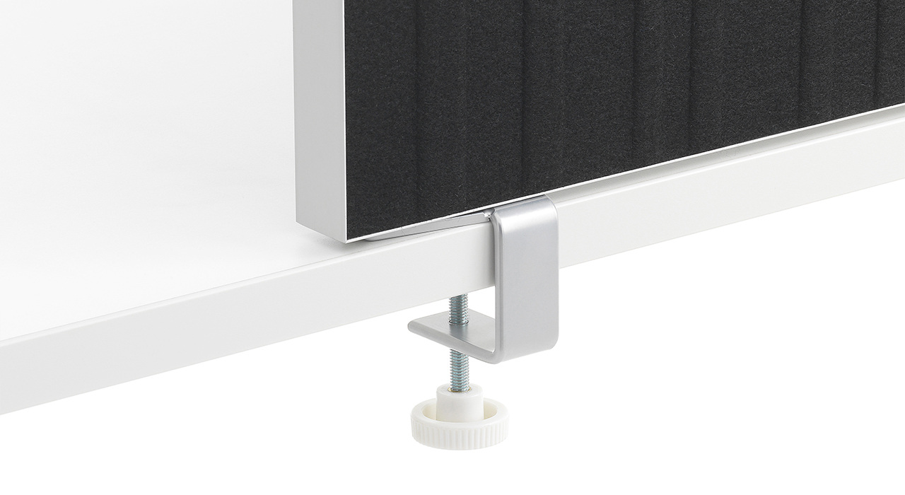 acoustic Alumi Screen grey black close up screw mounting under table sound absorbing partition