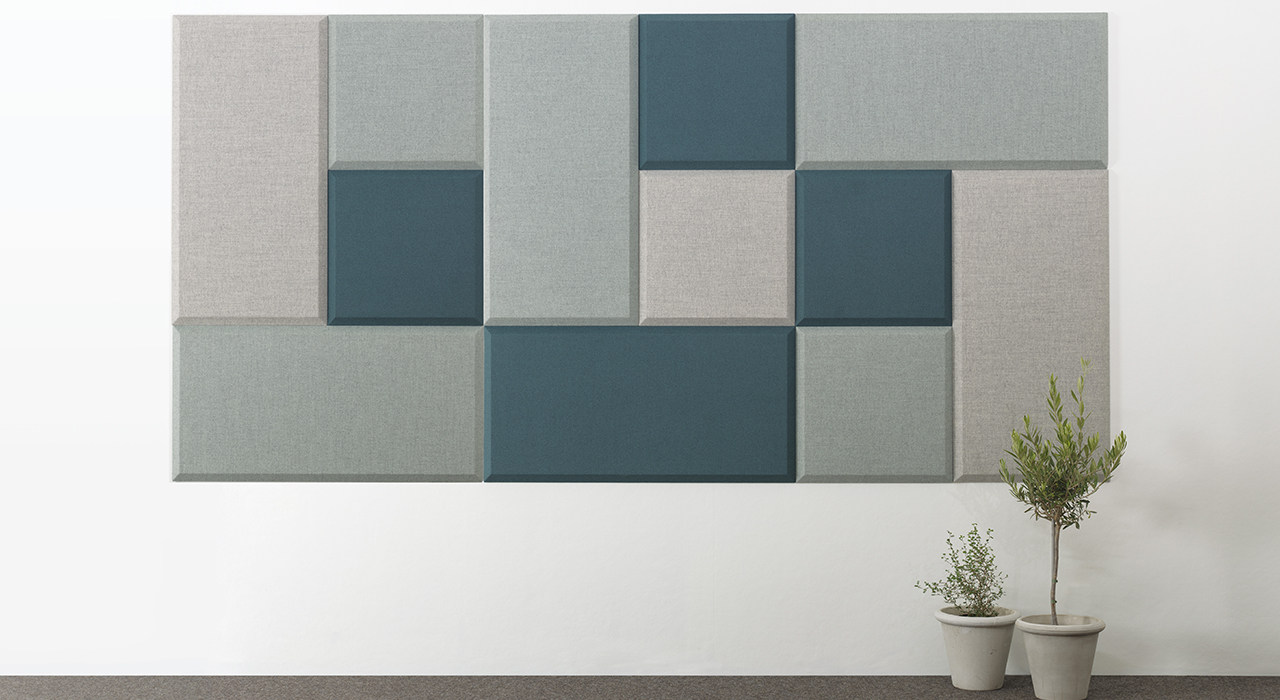 Installation featuring acoustic tile Domo Wall blue green white plant sound absorbing wool