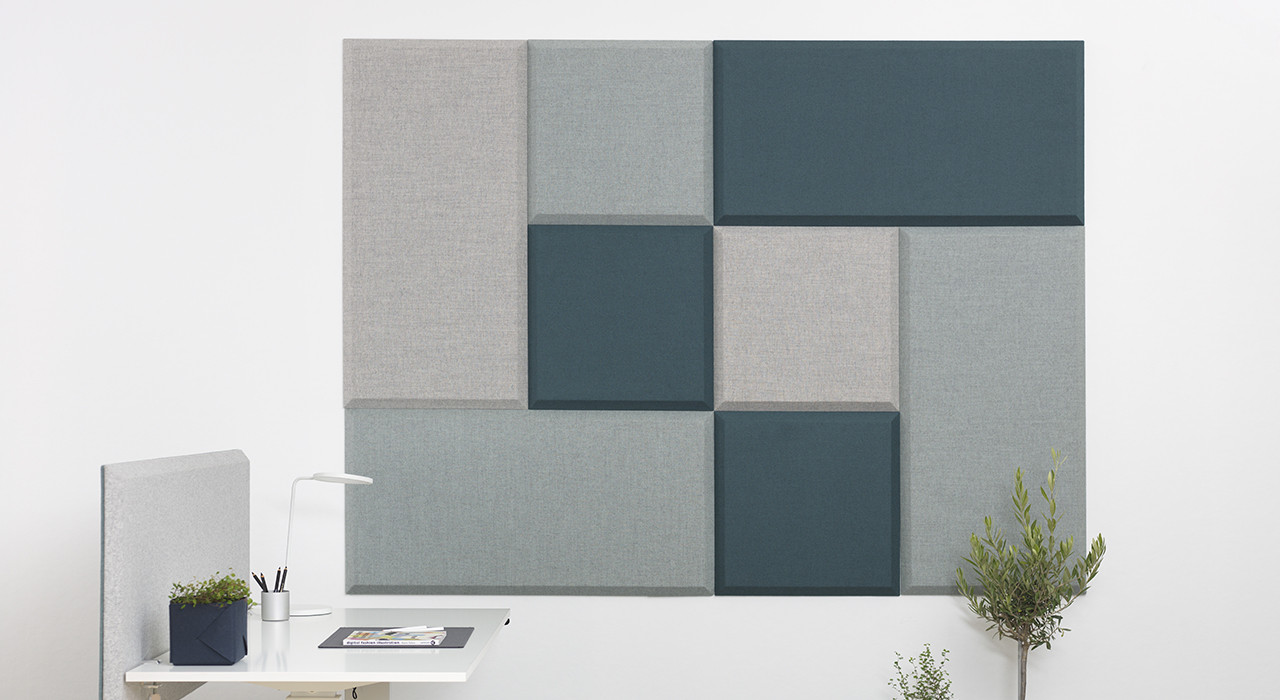 Installation featuring acoustic tile Domo Wall blue green white plant sound absorbing wool office