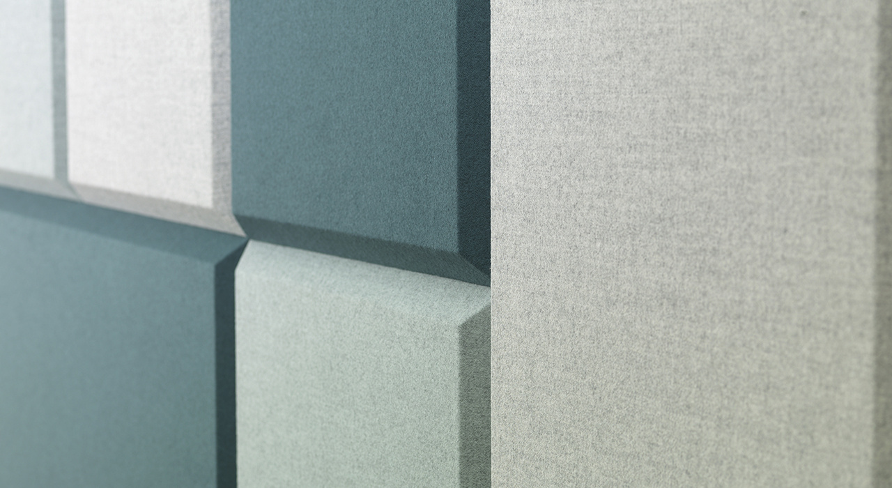 acoustic tile Domo Wall various colors sound absorbing wool close up