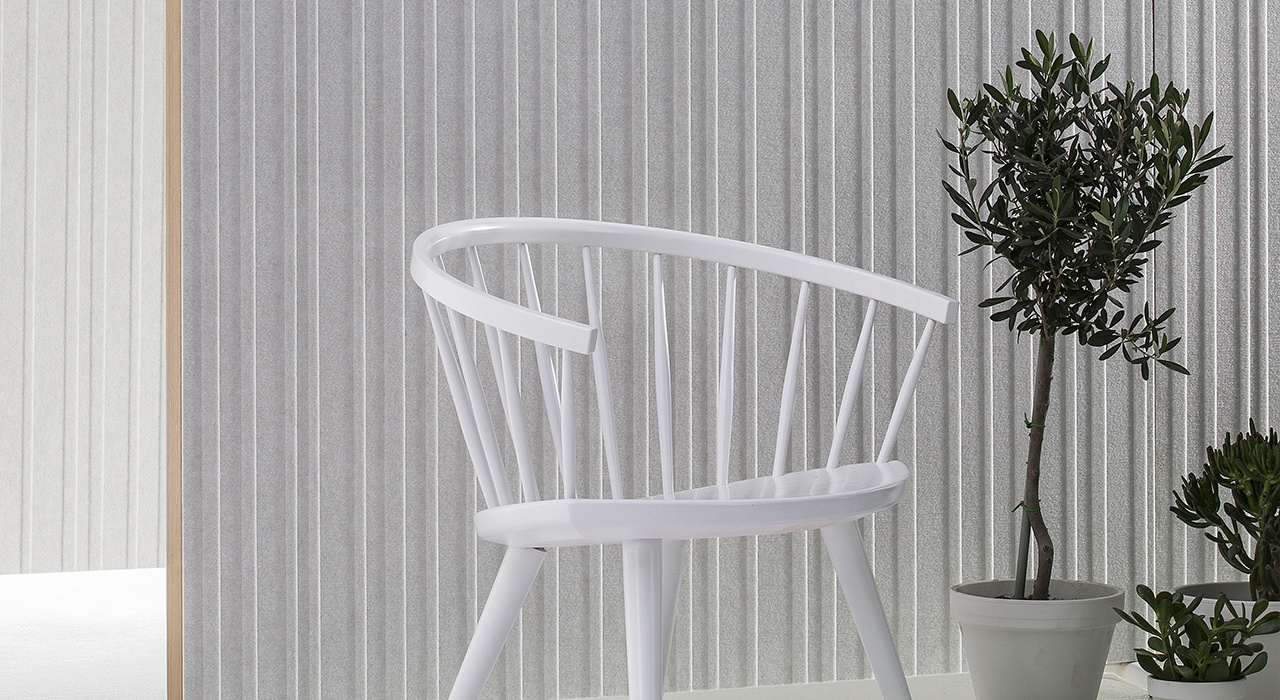 Installation featuring Doremi Screen white grey chair plant standing floor screen sound absorbing partition