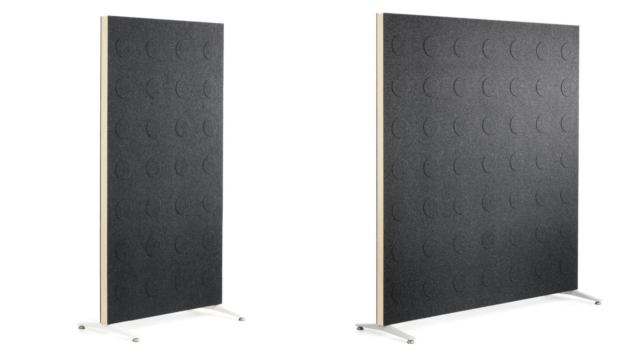 Doremi Screen grey standing floor screen sound absorbing in two sizes white background