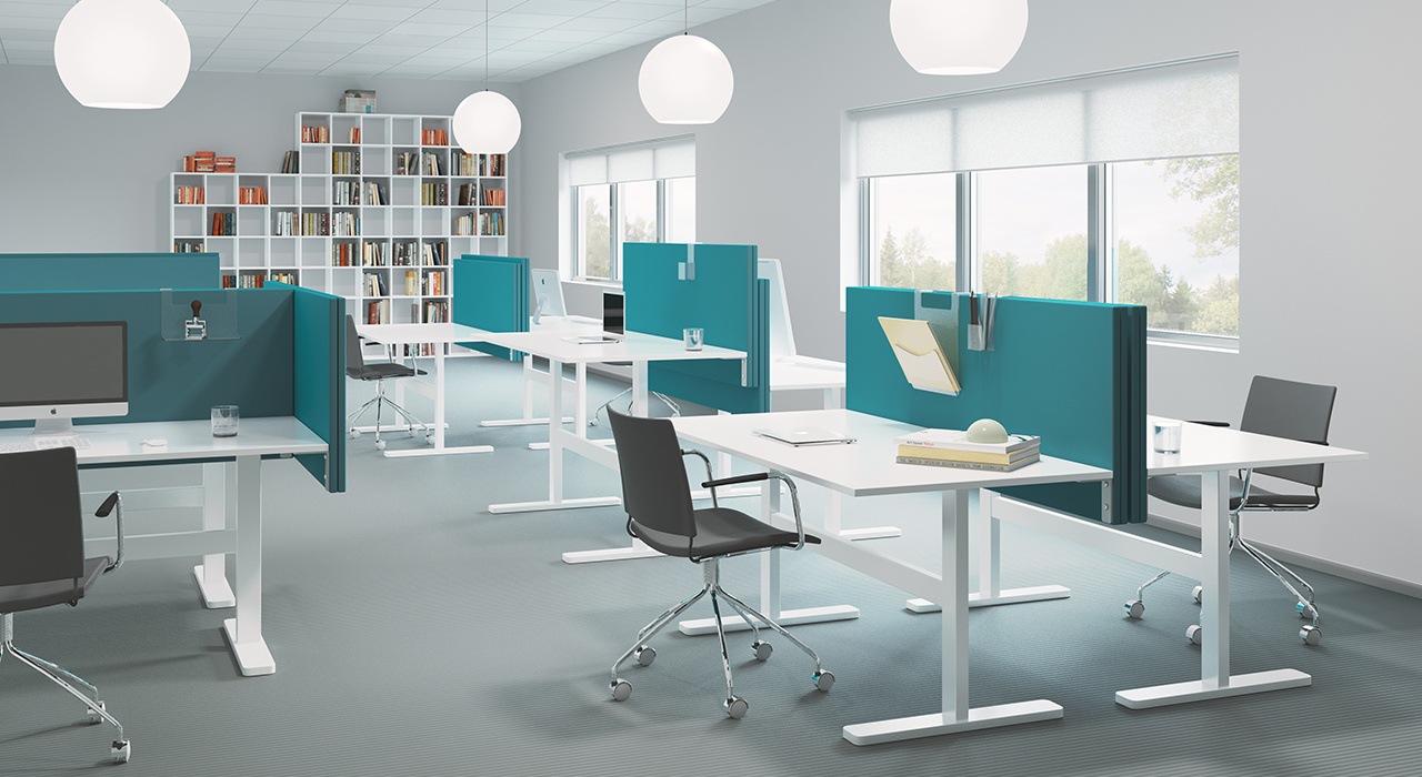 turquoise acoustic table screens on white desks in office with globe pendant lights