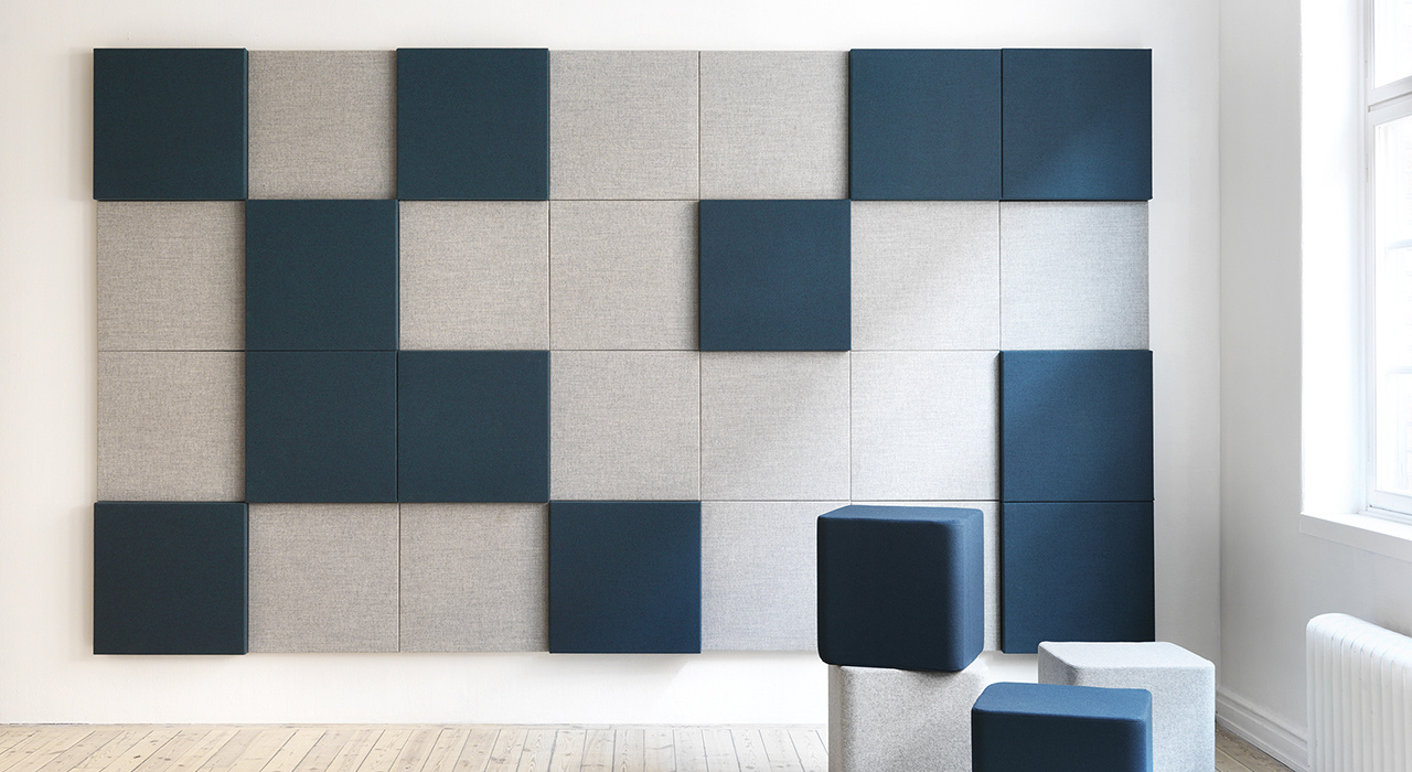 teal and grey acoustic soneo wall tiles