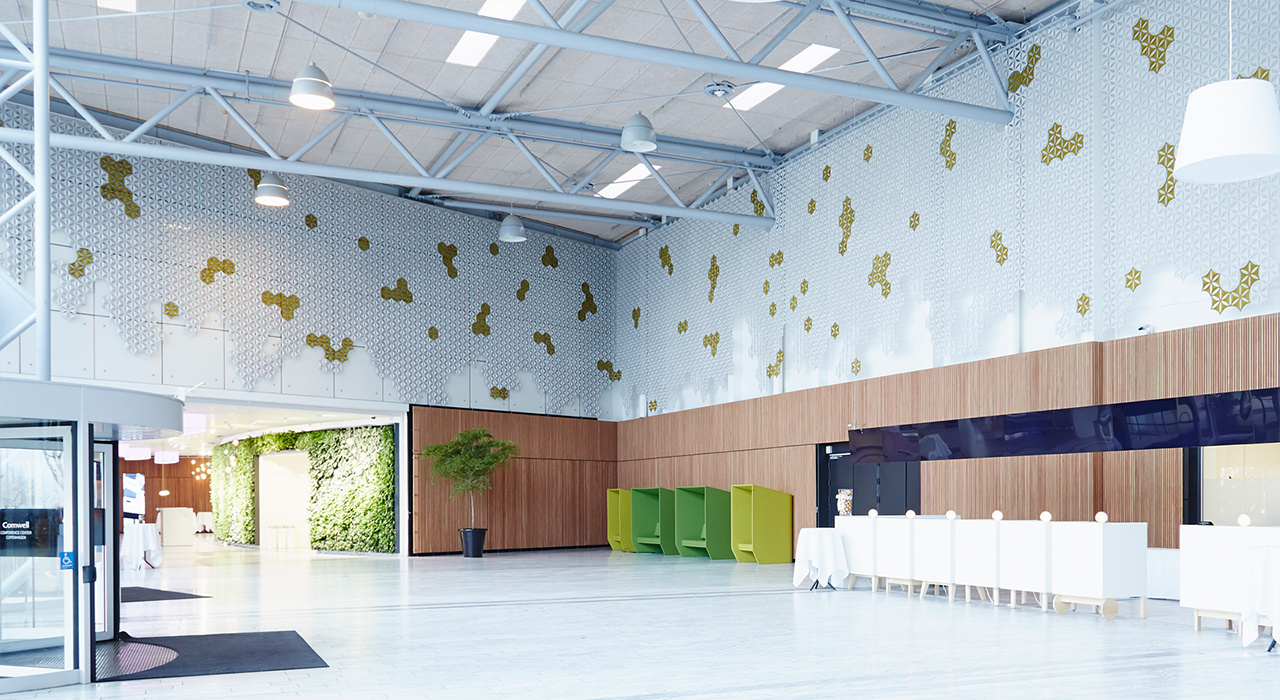 bellacenter-airflake-sound-absorbtion-wall-tile-installation-high-ceiling-beams