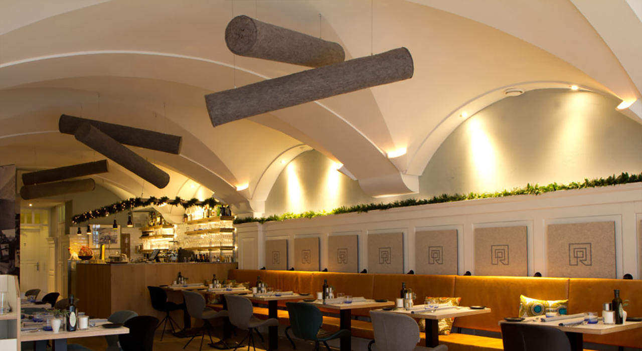 acoustic baffle lina baffle on restaurant ceiling in color ash