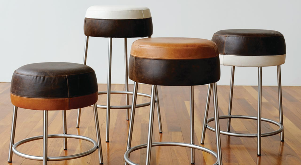 Verona leather upholstered stools