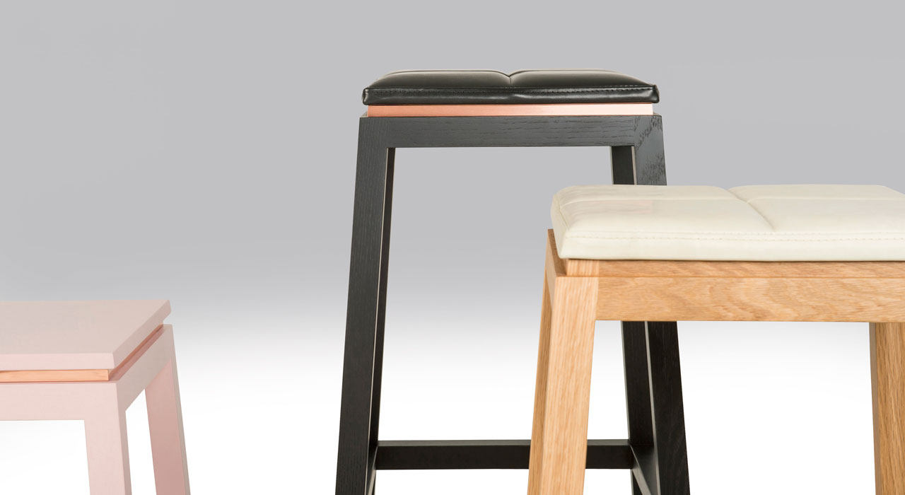 Verona leather upholstered stool