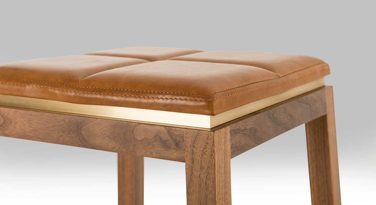 Verona Nutmeg leather upholstered stool