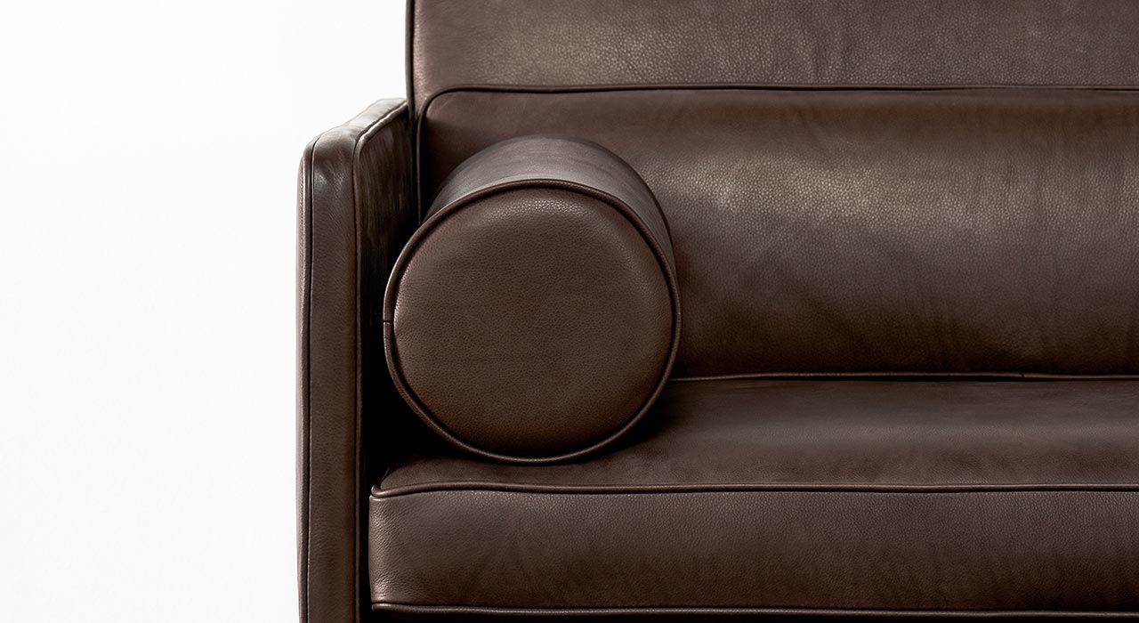 Tundra Caribou leather on sofa