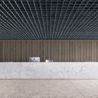 reception area acoustic ceiling tile example