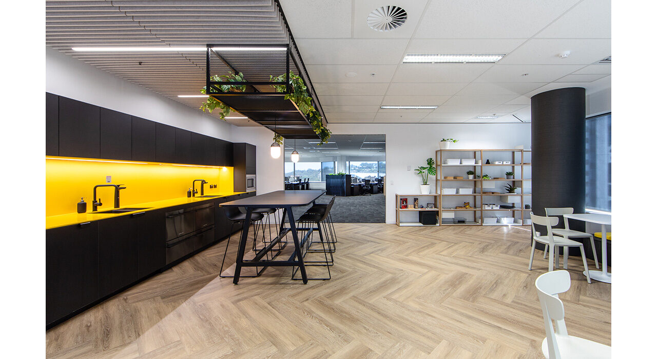 drop-in acoustic ceiling tiles over open office area