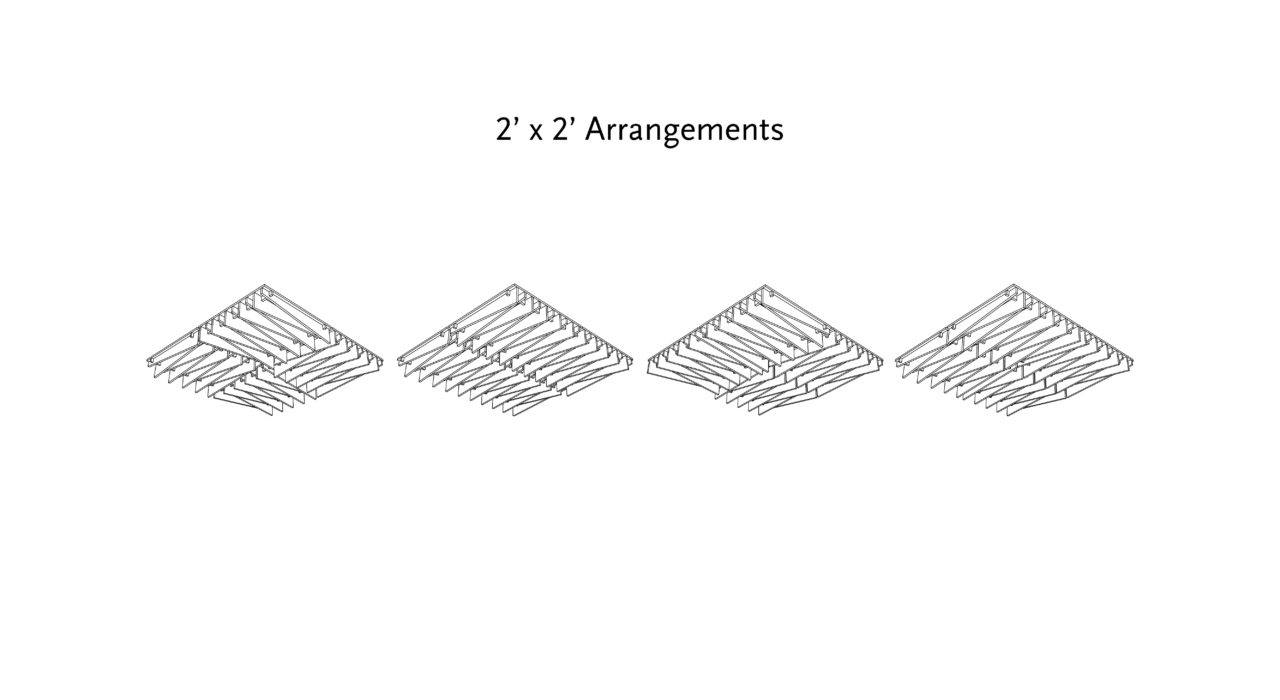 acoustic drop ceiling tile arrangements for two foot grids