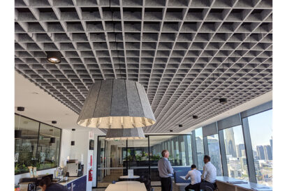 grey acoustic ceiling tiles in office break room