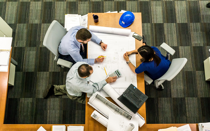 group working at an office table