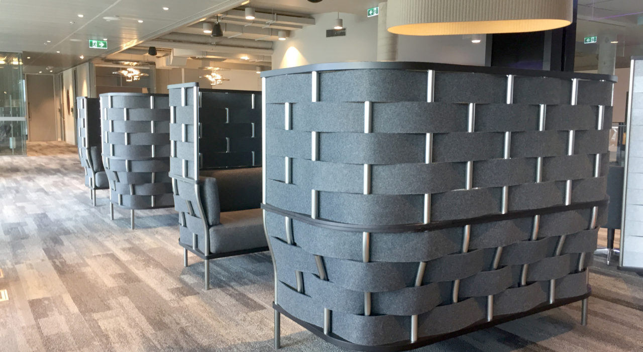 Bower screens grey felt covering sound absorption installed as pod units with sofas