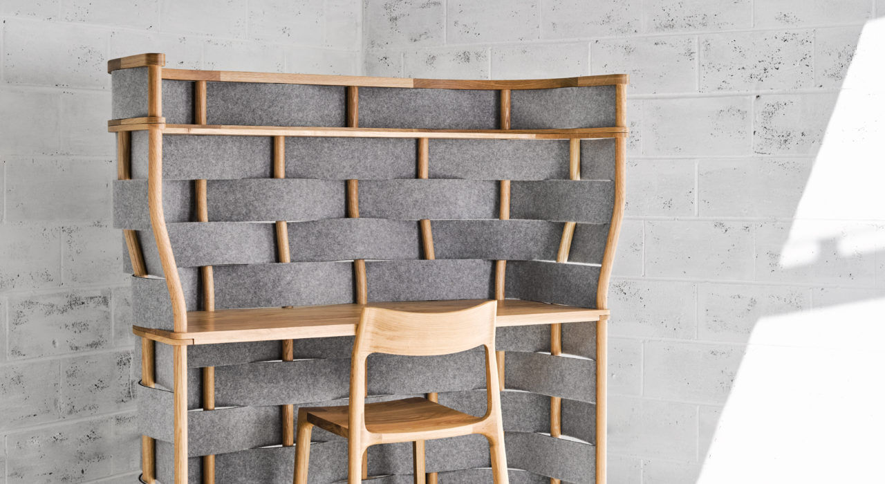 Bower screen on table with chair grey felt covering sound absorption