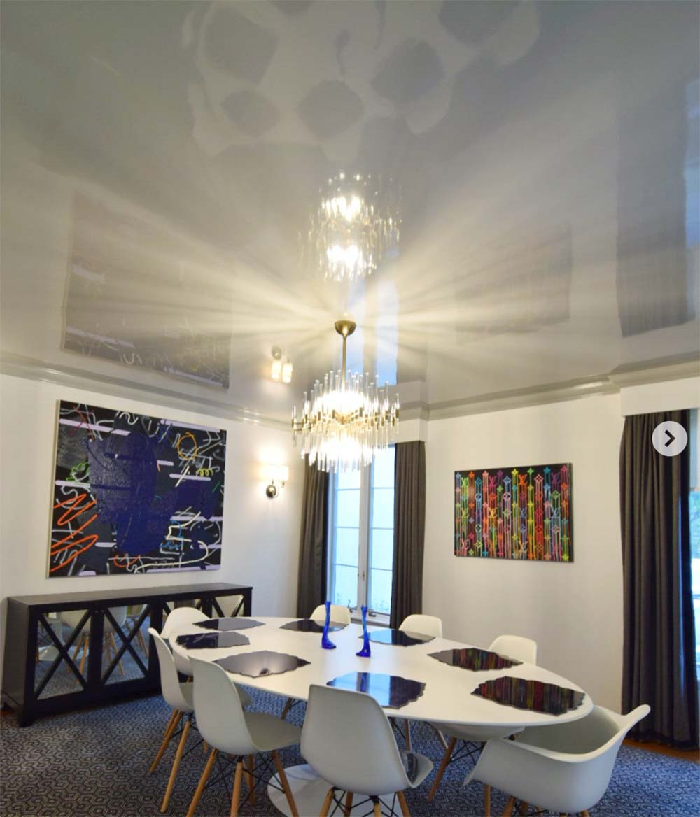 high gloss painted ceiling in a dining room