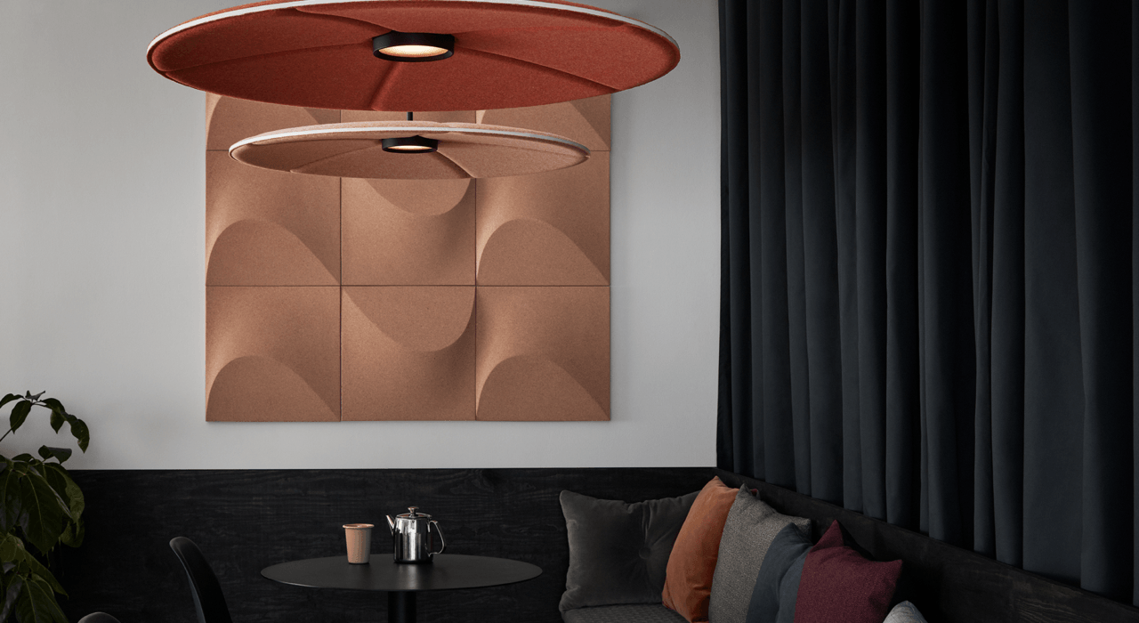 lily acoustic lighting from ceiling with Sahara cork acoustic wall