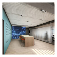 off white acoustic drop ceiling tiles in office reception area