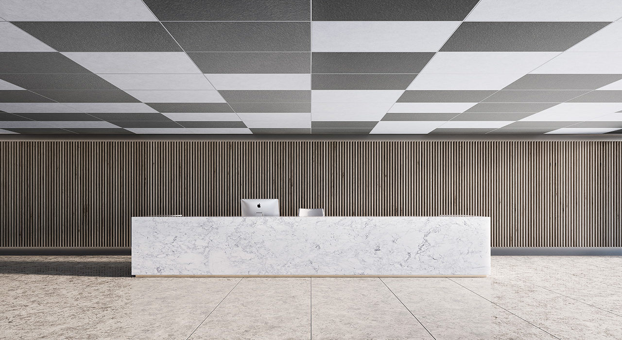ceiling flats tiles in reception area above marble table