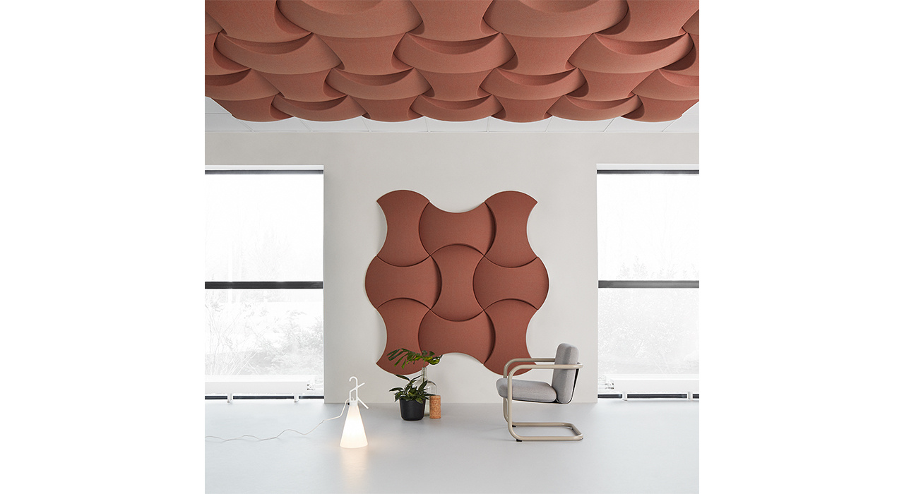sky acoustic wall and ceiling tiles with chair and lighting in front