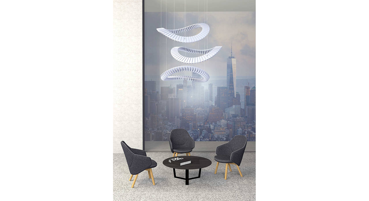 ecoustic tango sound absorbing acoustic accessory above table and chairs in front of city skyline