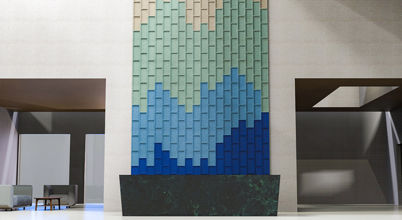ecoustic edge sound absorbing acoustic wall tiles on wall in tan green and blue