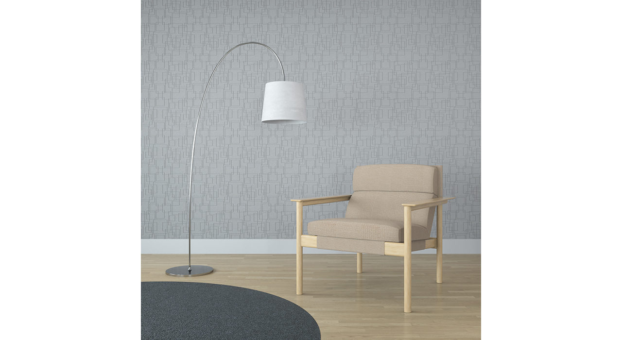 light grey acoustic wall tiles with rectangle pattern behind chair and lamp