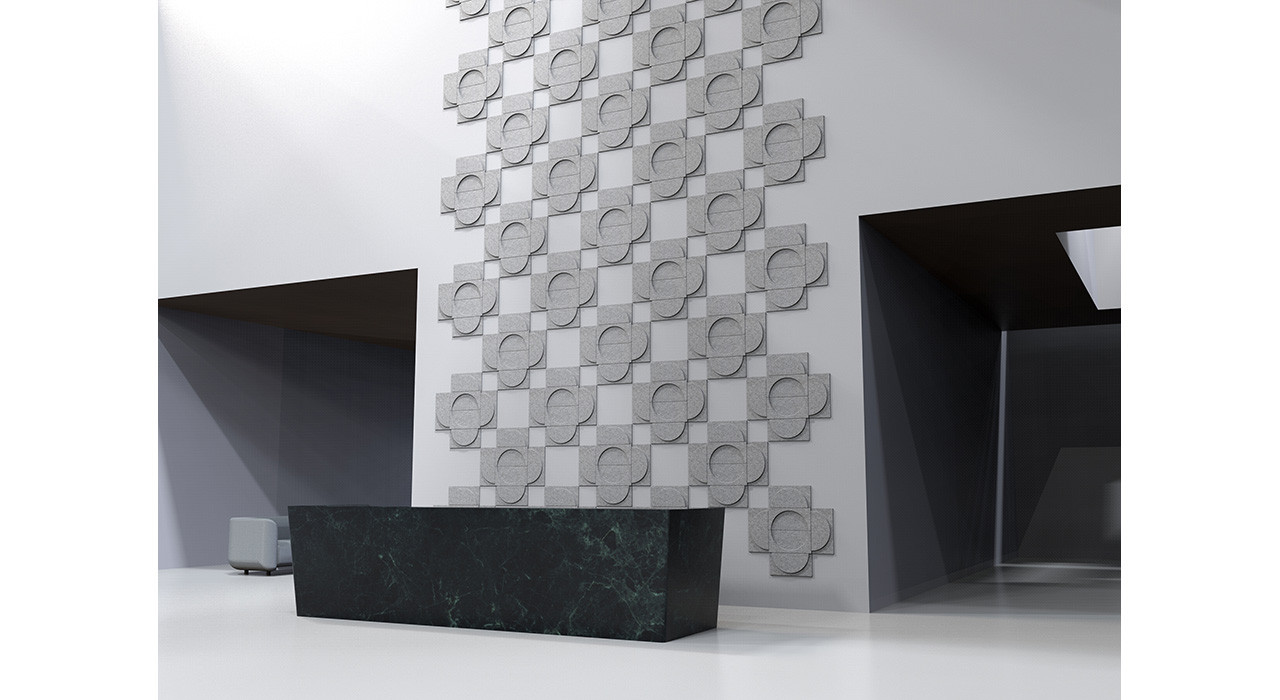 crescent wall tiles behind reception desk at angle in flower formation