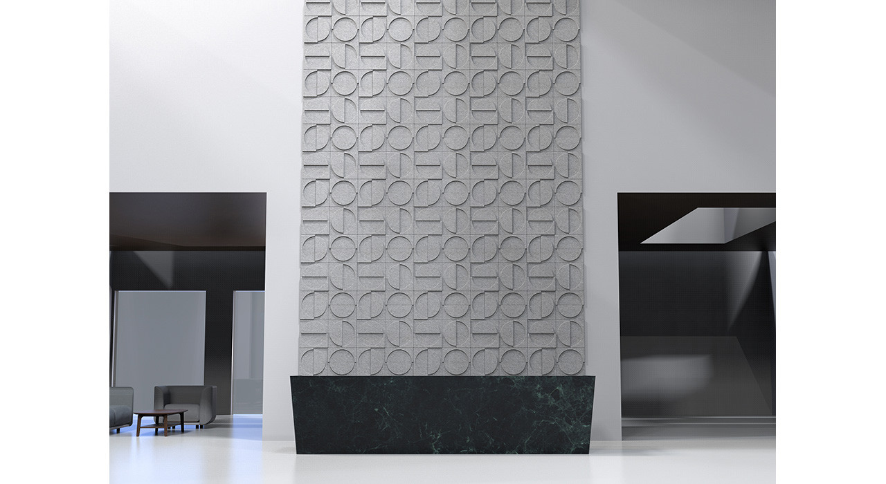 crescent wall tiles behind reception desk straight on in curved formation